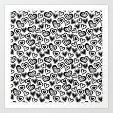 MESSY HEARTS: BLACK Art Print