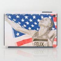 allyson johnson iPad Cases featuring Allyson Felix by Moira Sweeney