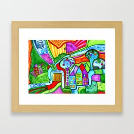 The city of bright colors Framed Art Print