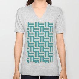 Teal Turquoise Aqua and Alabaster White Grid Stripes Tessellation Pattern 1 - Aquarium SW 6767 Unisex V-Neck