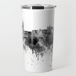 Prague skyline in black watercolor  Travel Mug