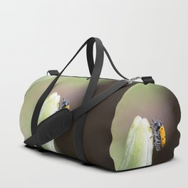 Lachnaia sexpunctata on lily Duffle Bag