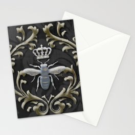 Elegant Black & Gold Damask Bee Stationery Cards