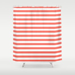 LIVING CORAL HORIZONTAL STRIPES PANTONE COLOR OF THE YEAR 2019 Shower Curtain