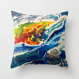 Deep Sea Rainbow Throw Pillow