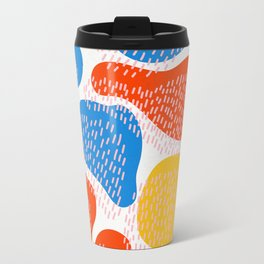Abstract Orange, Blue and Yellow Memphis Inspired Pattern Travel Mug