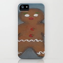 Gingerbread Man, oil painting by Luna Smith, LuArt Gallery, cookie iPhone Case