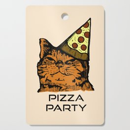 Pizza Party Cat: Funny Animal Kitty Cutting Board