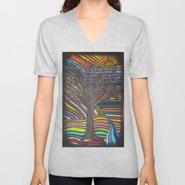 Tree of Life Rainbow Painting Unisex V-Neck