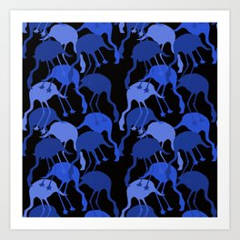 Blue Flamingo Animal Camouflage Pattern Art Print