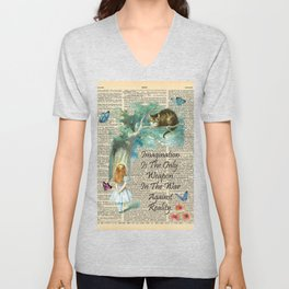 Alice In Wonderland Quote - Imagination - Dictionary Page Unisex V-Neck