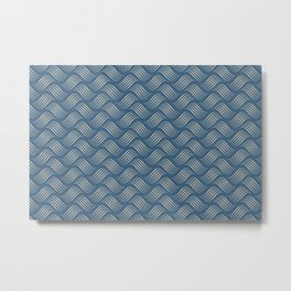Beige Wavy Tessellation Lines on Dark Tropical Blue Pair To 2020 Color of the Year Chinese Porcelain Metal Print