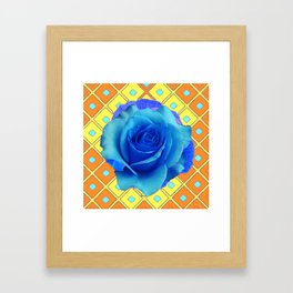 Blue Rose Caramel-yellow Pattern Art Framed Art Print