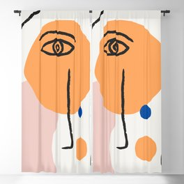 Feminist Line Drawing – Face Illustration | Blue and Nude | Modern Wall Art | Leaf Print | Feminist Blackout Curtain