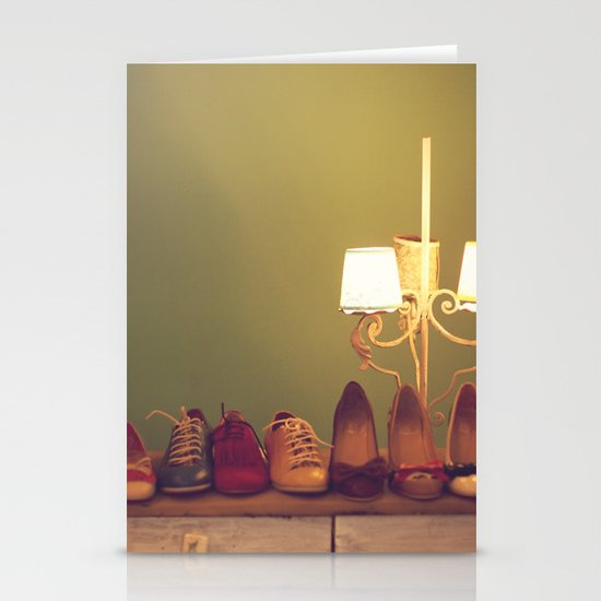 Dancing Shoes and Heels (retro and vintage girly shoes and heels with a lovely lamp) Stationery Cards