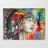 native american Canvas Prints featuring Native American by Hannah Brownfield Camacho