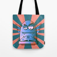 fault Tote Bags featuring Fault 45 02 (its not his fault) by Face Leakage