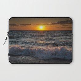 Lake Michigan Sunset with Crashing Shore Waves Laptop Sleeve