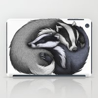 cuddle iPad Cases featuring Badger Cuddle by Lyndsey Green Illustration