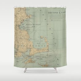 Vintage Massachusetts Lighthouse Map (1898) Shower Curtain