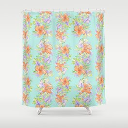 tropical hawaiian flowers aqua Shower Curtain