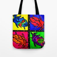 anatomical heart Tote Bags featuring Anatomical Heart  by Bones&guts