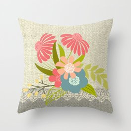 Flower bouquet lace burlap #1 Throw Pillow