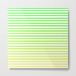 Beach Blanket - Green/Yellow Stripes Metal Print
