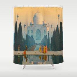 Morning Mist in Taj Mahal Vintage Beautiful Japanese Woodblock Print Hiroshi Yoshida Shower Curtain