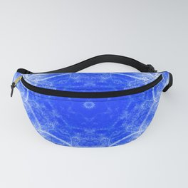 Fractal lace mandala in blue and white Fanny Pack