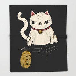actual lucky cat Throw Blanket