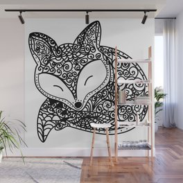 Black and White Mandala Fox Design Illustration Wall Mural