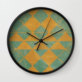 Emerald and Gold Marble Design Wall Clock