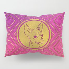 Golden Embossed Chihuahua on pink /purple Pillow Sham