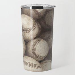 Bucket of Old Baseballs in Sepia Travel Mug