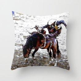 The Dismount   -   Rodeo Cowboy Throw Pillow