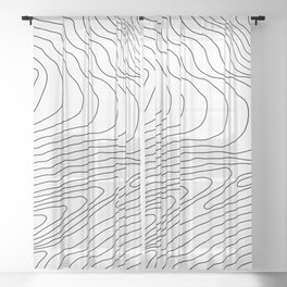 Topographic Line Pattern #440 Sheer Curtain