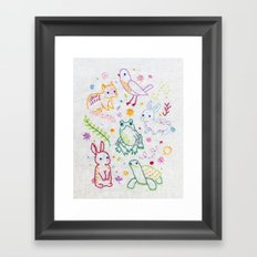Picnic Pals minis embroidery Framed Art Print
