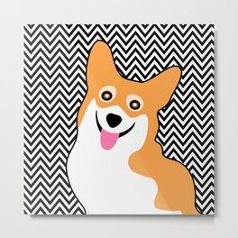 Happy Corgi Chevron Metal Print
