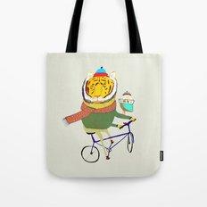 Tiger and Owl biking. Tote Bag