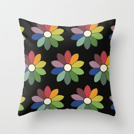 Flower pattern based on James Ward's Chromatic Circle (vintage wash) Throw Pillow