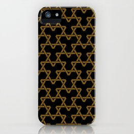 Brown Triangles on Black iPhone Case