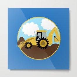 Construction Backhoe Digger  Metal Print