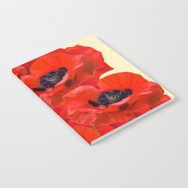 RED ORIENTAL POPPIES ON CREAM COLOR Notebook