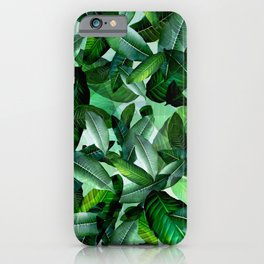 Banana palm leaf tropical jungle green iPhone Case
