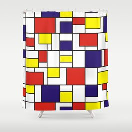 Homage to Mondrian in red blue and yellow Shower Curtain