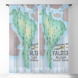 Falster Island Denmark travel poster. Sheer Curtain