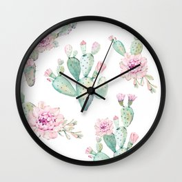 Simply Cactus Rose Wall Clock