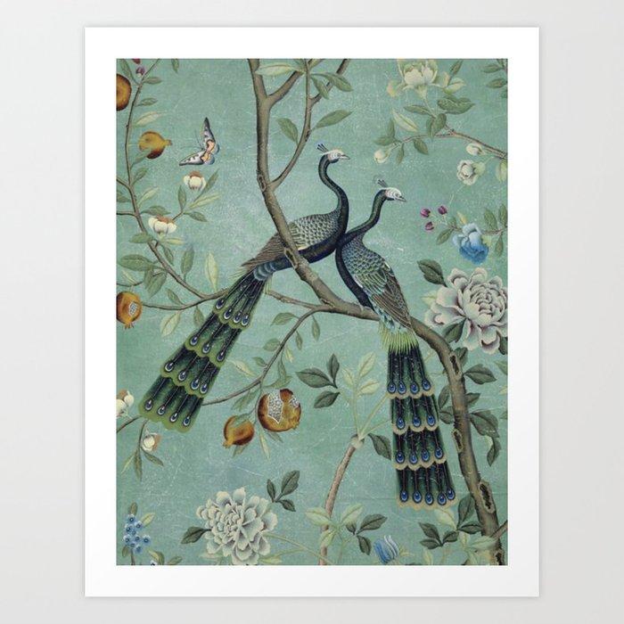 A Teal of Two Birds Chinoiserie Kunstdrucke