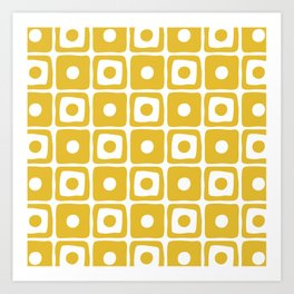 Mid Century Square Dot Pattern Mustard Yellow Art Print